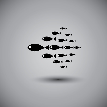 enterprising: leadership vector concept - leader fish & team swimming together. This graphic also represents positive thinking, team spirit, team work, manager & employees, boss & workers, team in sync, etc