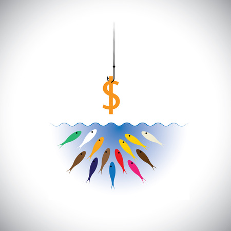 tempt: fish hook with dollar as bait for fishing - vector concept. This graphic symbol also represents strategies like attracting top talent by corporates & companies, retaining talent with salary bait, etc Illustration