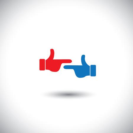 accuser: deux mains font les uns les autres - le concept de lutte antivectorielle. Ce graphique repr�sente �galement diff�rents conflits humains comme accusation, la critique, la d�sapprobation, le bl�me, la col�re, la confrontation, etc