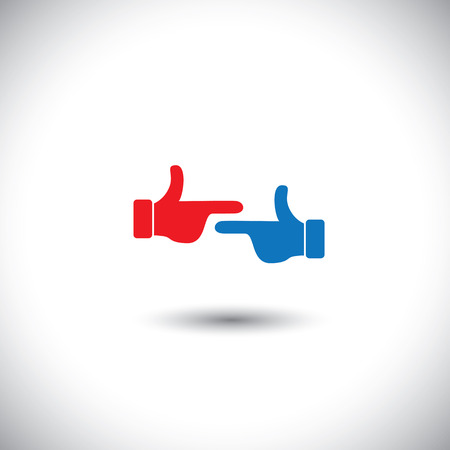 disapproval: two hands point at each other - fight concept vector. This graphic also represents different human conflicts like accusation, criticism, disapproval, blaming, anger, confrontation, etc