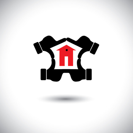realestate: dream house vision concept vector icon created using hands.