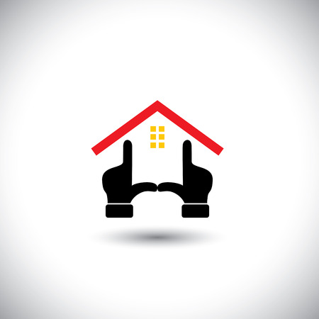 dream home concept vector icon created using hands.  Illustration
