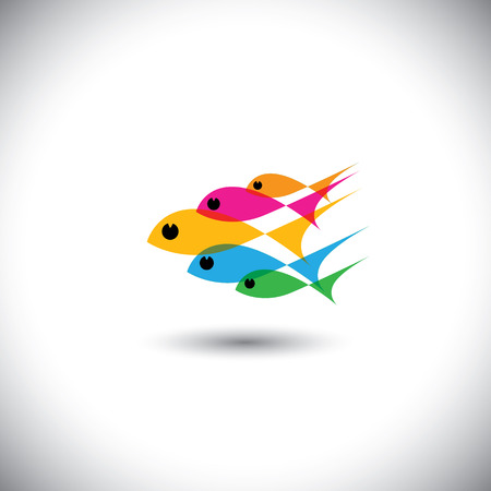 leadership vector concept - colorful team of fishes united. This graphic also represents positive thinking, team spirit, team work, manager & employees, boss & workers, teacher & students, etc Vector