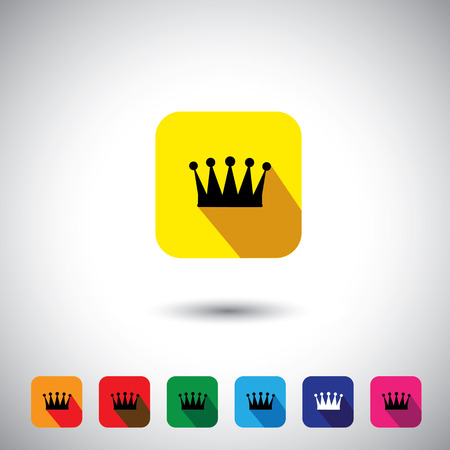 princely: flat design vector icon - royal crown  signs & symbols. This graphic illustration with long shadows also represents wealth, royalty, ruler, king, emperor, monarch, etc Illustration