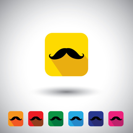 flat design vector icon - black mustache symbol of manliness. This graphic illustration with long shadows also represents thick mush of an adult male, proud man, sign of masculinity, etc