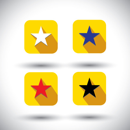 vector icon - flat design star icons with various colors. This graphic illustration with long shadows also represents christmas stars, rating buttons, etc and used in application, webdesigns Vector