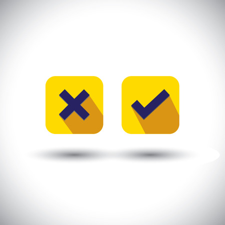 true false: vector icon - flat design check mark or choice icons. This graphic illustration with long shadows also represents true, false, wrong wrong signs and usable in web and mobile applications Illustration