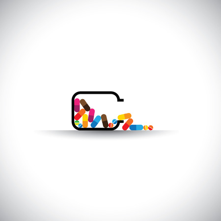 cure: medical concept vector icon - colorful tablets symbols in a bottle.
