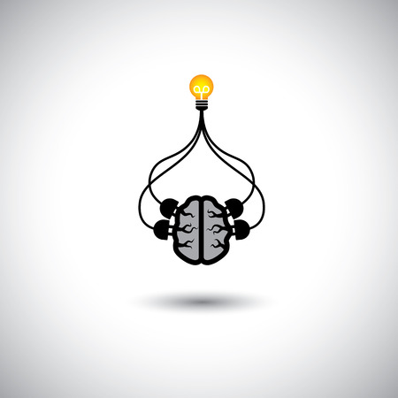 evolve: icon of bulb & brain connected - vector concept of idea creation. This graphic illustration also represents genius mind, clever person, smart solutions, problem solving, efficient use of brain, etc Illustration