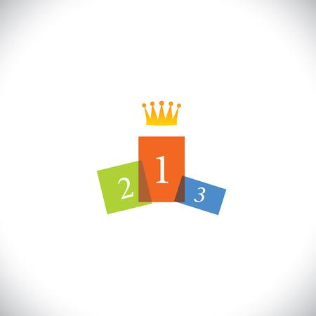 abstrakte farbenfrohe Podium Symbol mit Krone - Vektor-Konzept Erfolg. Diese grafische Darstellung stellt auch Erfolg, Gewinner, beste Person im Wettbewerb, Schönheitswettbewerb, erreichte Ziel, Wettbewerb