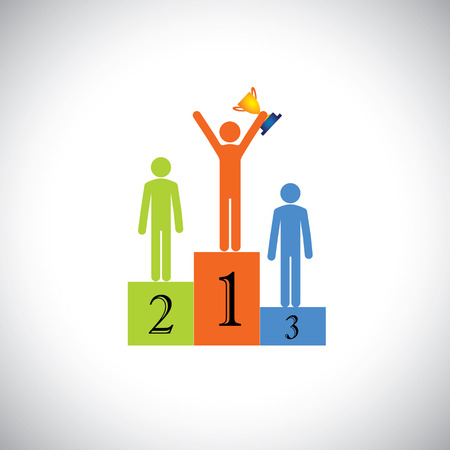 goal achievement: winner on podium with cup celebrating- success vector concept. This graphic illustration also represents achievement, superiority, best person in competition, beating rivals, reaching goal, contest Illustration