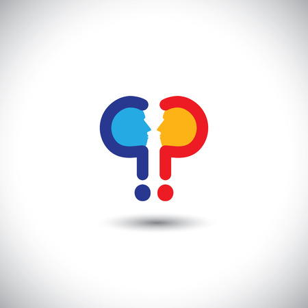 inquest: abstract colorful people icons as questions - concept vector. This graphic icon also represents people with opposite ideas, debates, discussions, inquiries, investigations, etc