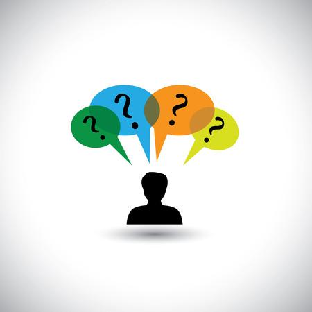 dudas: gente concepto de vectores de pensamiento - hombre con burbujas y preguntas del discurso. Este ejemplo gráfico representa también preguntas sin respuesta, dudas, muchos pensamientos, investigación, etc