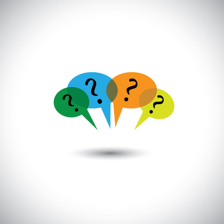 concept vector people chat - many speech bubbles & questions. This graphic illustration also represents unanswered questions, doubts, many thoughts, inquiry, etc Vettoriali