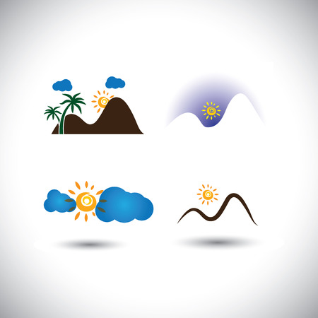 evenings: nature icons vector set - mountains, sunsets, sky & sunrises. This graphic also represents abstract landscape scenes like hills, palm trees, mornings, evenings, etc