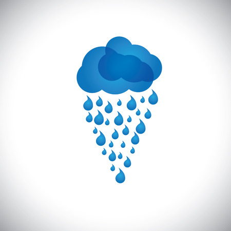 monsoon clouds: blue clouds & rain vector icon, sign or symbol on white background. This graphic also represents rainstorm, heavy rainfall, monsoon, rainy season, inclement weather, drizzle, spate, downpour, etc