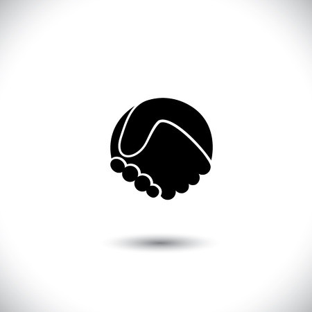Concept vector graphic icon - abstract hand shake silhouette. This graphic illustration can also represent new partnership, friendship, unity and trust, greetings, forging ties, business meeting, etc
