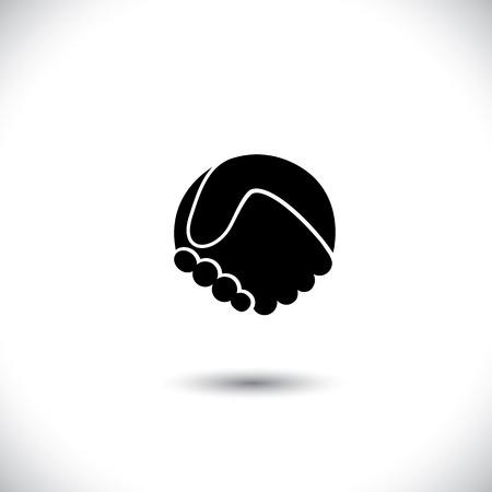 hand shake: Concepto gráfico icono - resumen apretón de manos silueta. Este ejemplo gráfico también puede representar a la asociación nueva, amistad, unidad y confianza, de felicitaciones, lazos de forja, reunión de negocios, etc Vectores