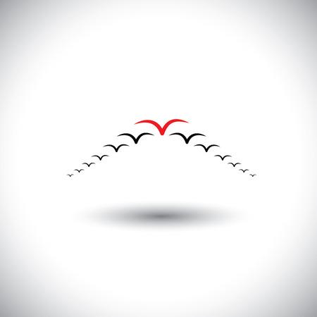 followers: concetto di leadership vector - uccelli che volano formando una freccia. Questo grafico rappresenta anche direttore e gli impiegati, essendo dirigente di successo, il leader e seguaci, impostando ad esempio, essere diverso, audace Vettoriali