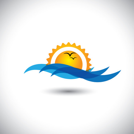 morning sunrise: ocean concept vector - beautiful morning sunrise, waves & birds. This graphic illustration also represents sunset, evening sky with birds flying, serene landscape, tranquil waters, etc Illustration