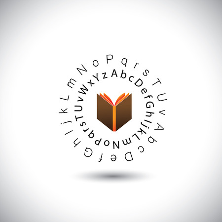 learning & education concept vector - book icon with alphabets. This graphic also represents school, library, bookstore, school & students, etc Stock Vector - 26033185