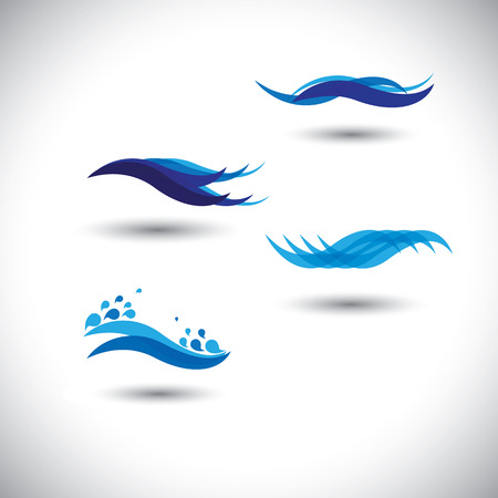 water flow: water concept vector - set of flowing blue wave lines . This graphic illustration also represents water waves at seas & oceans, beauty of water, flow of liquids, etc