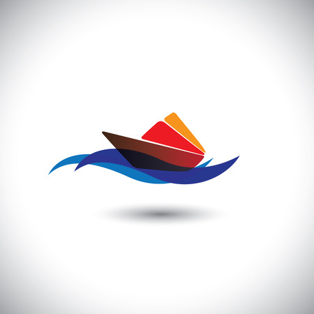 waters: yacht vector icon - colorful cruise on blue ocean waters. This graphic illustration also represents beach tourism, cruise travel, cruise holiday packages, sea travel companies, etc