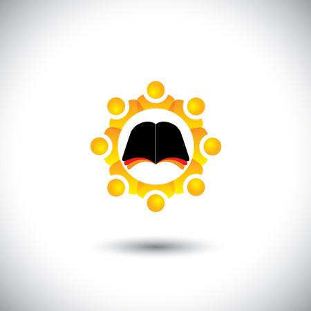 livre �cole: vecteur de concept de l'�cole - livre ic�ne avec les �l�ves cercle. Cette illustration graphique repr�sente �galement les personnes et l'alphab�tisation, l'�ducation et la scolarit�, les �l�ves et l'apprentissage, les m�dias sociaux et l'information, etc. Illustration