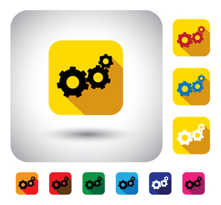 gear or cogwheel sign on button - flat design vector icon. This long shadows graphic symbol also represents teamwork, unity, industrial machinery, engagement, etc Vector