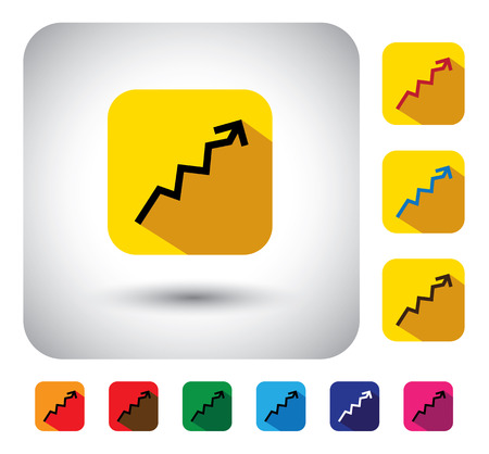 graph or report sign on button - flat design vector icon. This long shadows graphic symbol also represents financial performance, earnings growth, revenue & profits, stock market, corporate business  Vector