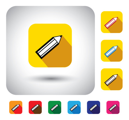 sharpened: pencil sign on button - flat design vector icon. This long shadows graphic symbol also represents children learning, school education, artists tool, office equipment, stationery material, etc