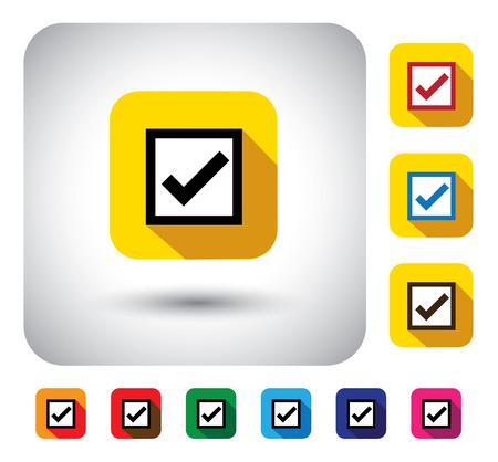 verify: barrare marchio segno sul pulsante - icona del design piatto vettoriale. Questo ombre lunghe simbolo grafico rappresenta anche l'approvazione, selezione destro, il voto in un sondaggio, dire s�, accordo, verificare che le opzioni, la scelta