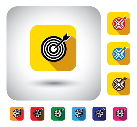 target or aim sign on button - flat design vector icon. This long shadows graphic symbol also represents marketing success, reaching goal, 100%, accuracy, perfection, performance, hitting bulls eye