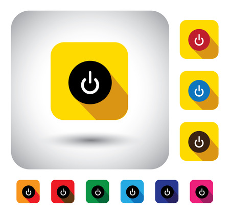 booting: computer start sign on button - flat design vector icon. This graphic symbol with long shadows also represents booting CPU, starting button on gadgets like laptop, PC, tablets & mobiles