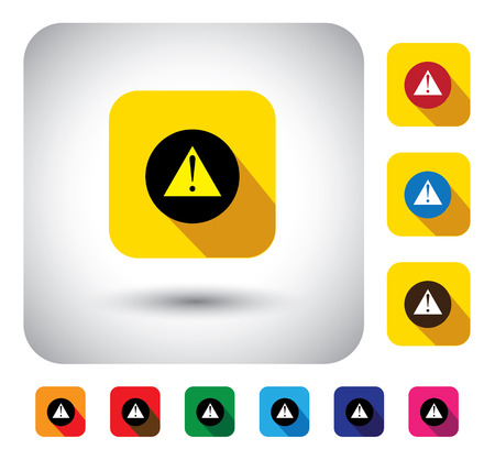 caution message sign on button - flat design vector icon. This graphic symbol with long shadows also represents warning of danger, unavailable internet connection, precaution message, etc Illustration