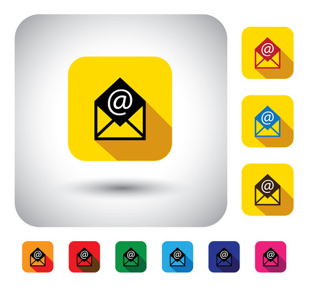 instant message: online email message sign on button - flat design vector icon. This graphic symbol with long shadows also represents internet communication, message exchange, instant interaction, etc