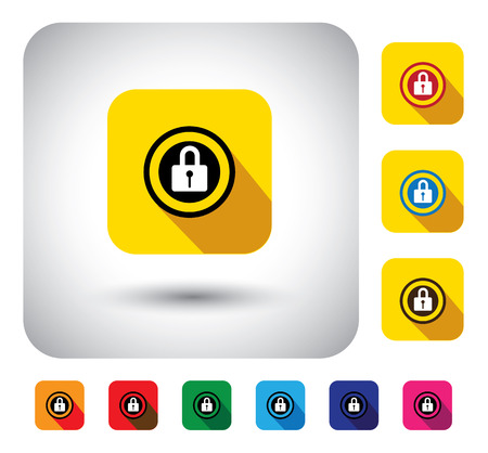 closed lock: closed lock sign of security on button - flat design vector icon. This graphic symbol with long shadows also represents secure system, hack-safe or hack-proof security, encryption, safe environment Illustration