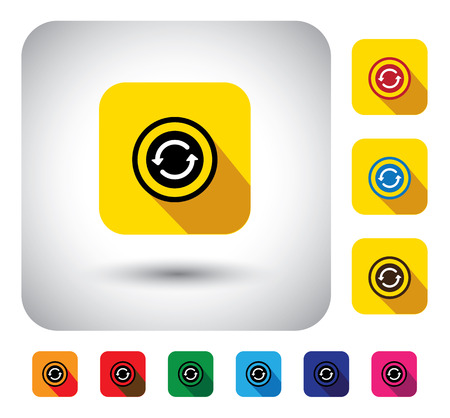 flat design vector icon - button with recycle or reload symbol. This graphic symbol with long shadows also represents refreshing the app, reloading, repeating the process, etc