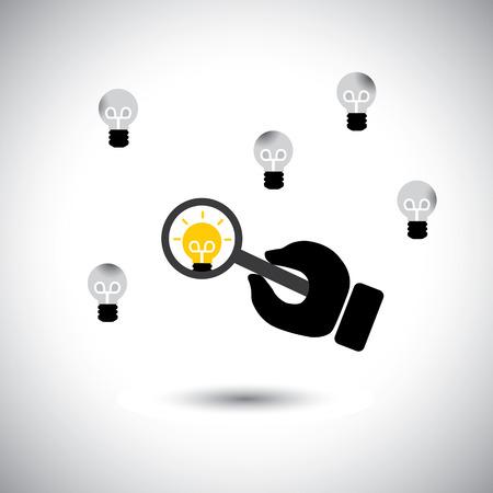 경험: 최고의 아이디어와 인재를 찾는 - 개념 벡터. 이 그래픽 아이콘은 인적 자원 부서, 전문가 및 전문가의 부족, 풍부한 경험을 가진 사람들의 작업을 나타냅니다