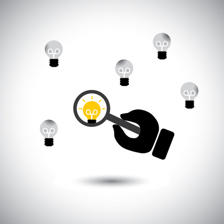 finding: finding talented employees with best ideas - concept vector. This graphic icon also represents the job of human resources department, scarcity of experts & specialists, people with rich experience