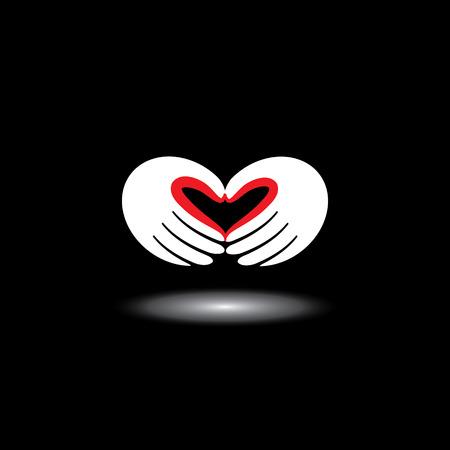 marido y mujer: s�mbolo del amor o de la forma del coraz�n de la mano de dos personas - concepto de vector. Esta ilustraci�n gr�fica tambi�n representa muchacho y muchacha en el amor, el amor por la naturaleza, la ecolog�a y el medio ambiente, marido y esposa, socios Vectores