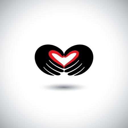 marido y mujer: personas en el amor vector de concepto - la forma del coraz�n de la mano de dos personas. Esta ilustraci�n gr�fica tambi�n representa muchacho y muchacha en el amor, el amor por la naturaleza, la ecolog�a y el medio ambiente, marido y esposa, socios Vectores