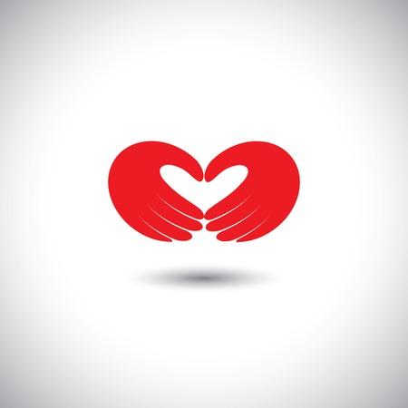 marido y mujer: manos que forman el s�mbolo del coraz�n - pareja en el amor concepto vectorial. Esta ilustraci�n gr�fica tambi�n representa muchacho y muchacha en el amor, el amor por la naturaleza, la ecolog�a y el medio ambiente, marido y esposa, socios