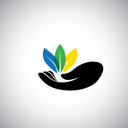 colorful leaf icons & woman's hand - conservation concept vector. This graphic also represents ecological protection efforts, nature conservation, etc