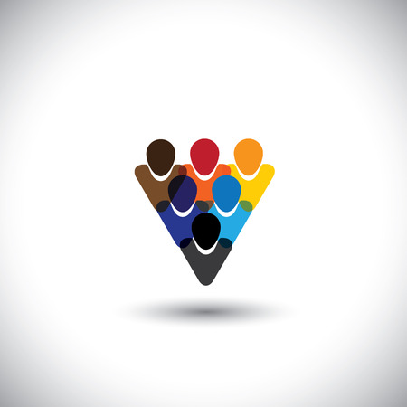 business team meeting: colorful people community showing unity & integrity - concept vector. This graphic also represents internet community, online social network & community, social media, employees, office staff, etc