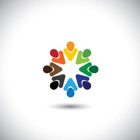 abstract colorful people together as circle - concept vector. This graphic also represents internet community, team work and team building, social media, employees meetings, office staff, etc