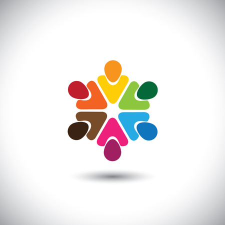 team of colorful people as circle - concept vector of teamwork. This graphic also represents internet community, team work and team building, social media, employees meetings, office staff, etc Vector