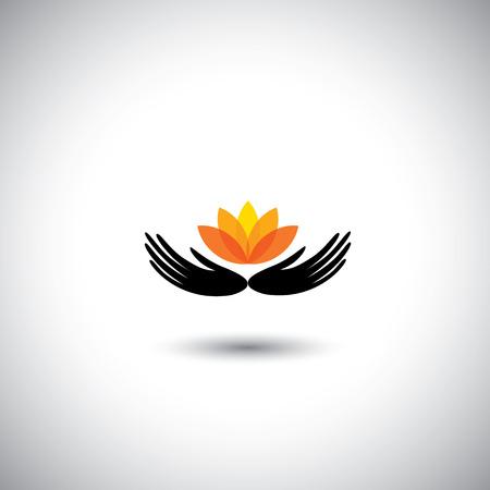 salon beaut�: mains prot�ger fleur - la conservation concept d'environnement vecteur. Ce graphique repr�sente �galement la conservation de la nature, ic�ne pour le salon des femmes, salon de beaut�, h�tel ou centre de vill�giature, boutique, p�dicure, manucure