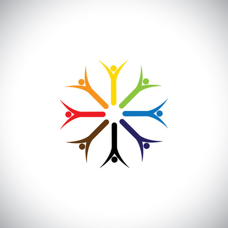 happy colorful people praying together in circle - concept vector.  Vector