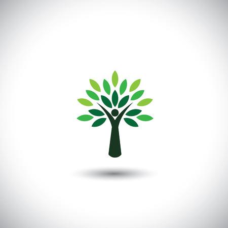 arbre: People Tree icône avec des feuilles vertes - vecteur concept écologique.